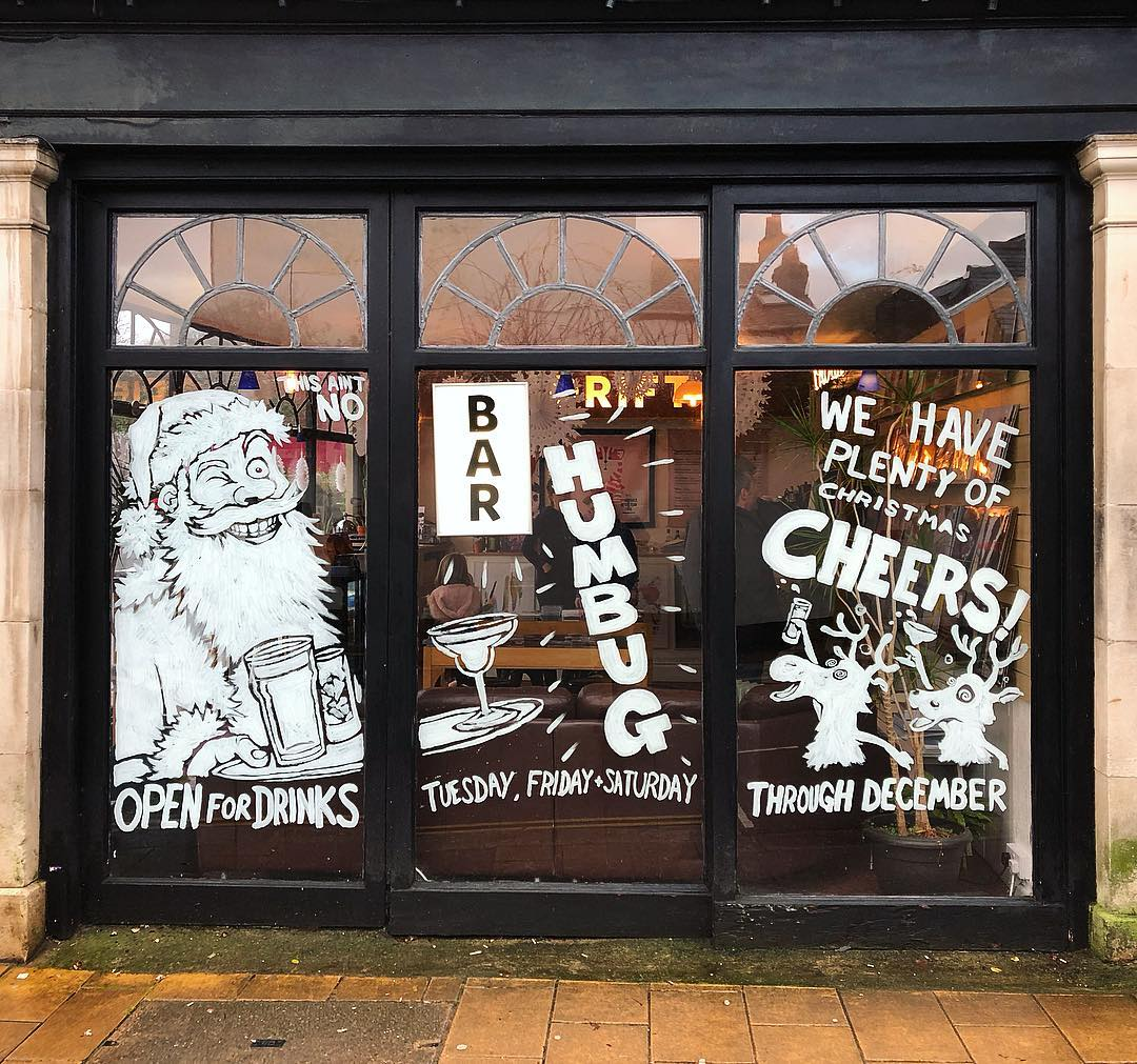 Drift Record Shop Christmas Window Painting.